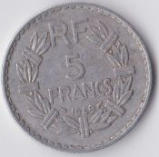 France, Aluminium 5 Francs 1949, VF, WE854